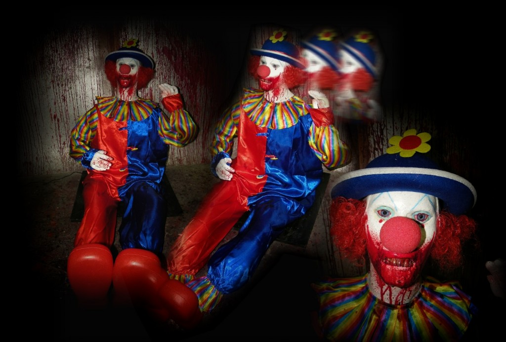 New 2011 Electric Animatronic Floor Sitter Rocking Buster Clown with laugh