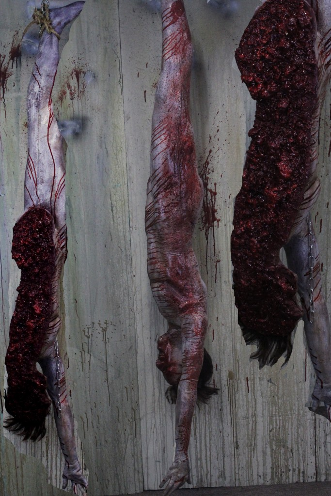 2015 Haunted House props Hanging Cut in Half Body package rotten