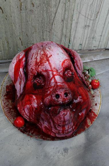 New 2018 Haunted House prop Bloody Gorey Pig Platter prop