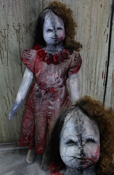 New 36 Halloween haunted house prop scary doll two face