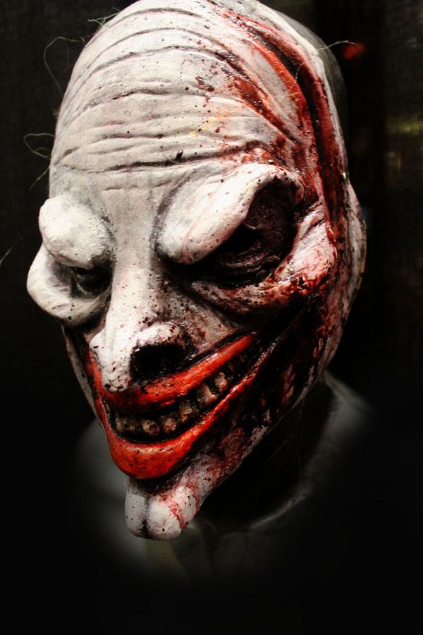No Jokes clown white mask Haunted House Actor Halloween Mask